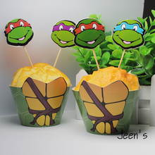 12sets Teenage Mutant Ninja Turtles cupcake wrappers&toppers decoration kid birthday party supplies cupcake cases cupcake liner