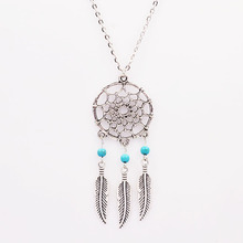 New Fashion accessories jewelry Dream catcher leather pendant necklace gift for women girl wholesale(China)