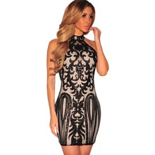 Pink black turtleneck retro vintage dress with sequins sexy nightclub clothing casual short summer dresses for women SA22916