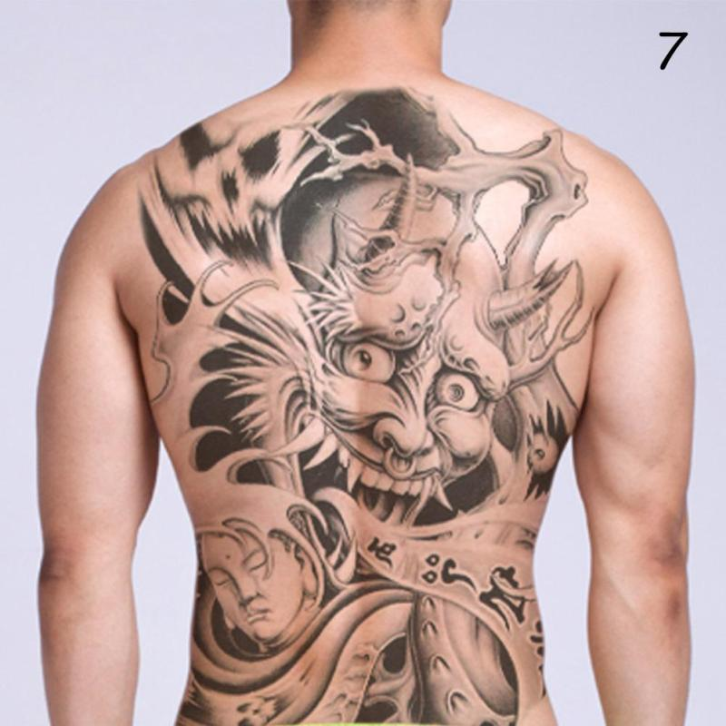 48*35cm Big size buddha ghost totem tattoo stickers men women waterproof full back body temporary tattoos RP2 8