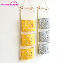 ROSEHOME Fashion Geometric Door Hanging Bag Linen Storage Organizer Wall Pockets Laundry Bags Storage Box Case