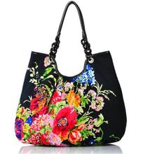 New Arrival Hmong National Ethnic Women Cotton Fashion Handbag Chinese Style Flower Printing Women's Casual One Shoulder Bags