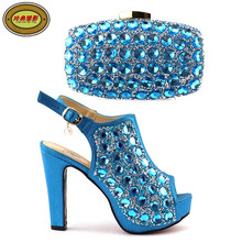 A825 High Class Wedding High Heels And Bags Set With Rhinestones Hot Sale Latest Party Shoes And Bag Set Free Shipping(China)