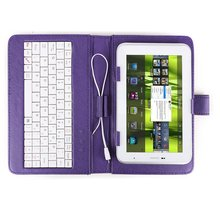 "GTFS-Hot Color Purple Cover faux leather + MICRO USB keyboard Jack + Universal support for Tablet PC 7 ""7 inch apad epad Station(China)"
