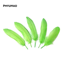 Brand FEATHER#Best Price BIG Promotion 20pcs Natural Green Goose Feather 15-20cm Decoration Wedding DIY Material Accessories(China)