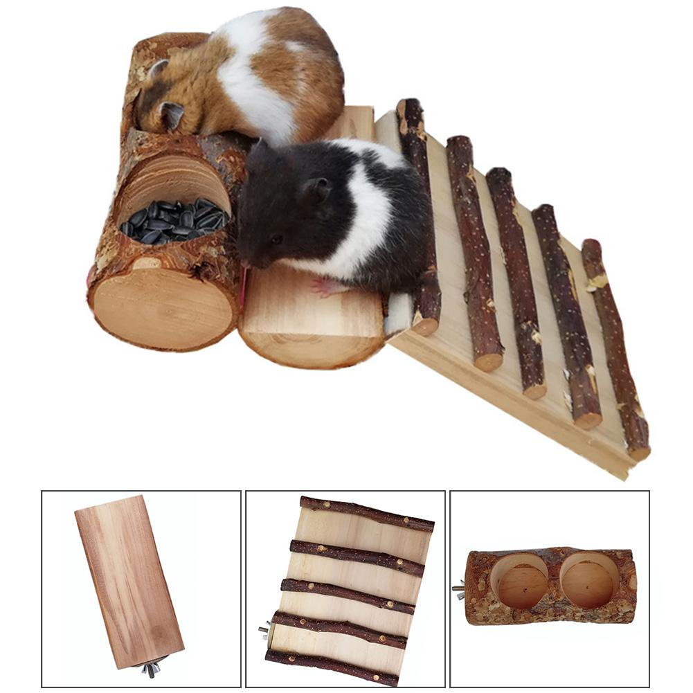 Wooden Hamster Platform with Railings Cage Accessories for Gerbil Chinchillas Squirrel Small Animal Toy Rat Guinea Pig Pet Grinding Teeth Springboard Toy