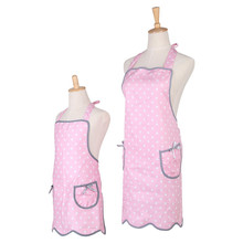 [WIT] Cotton Kitchen Apron Set for Mama and Me Polka Dot Pink Bib Apron with 2 pockets Parent-Child Apron Cooking Baking Apron(China)