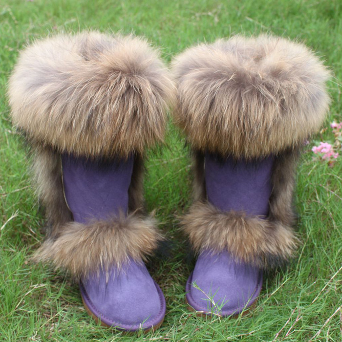 Natrual fur and genine leather women Knee-High Winter Flat Snow Boots Nature Fox Fur Womens Warm Boots Genuine Leathre Shoes<br><br>Aliexpress