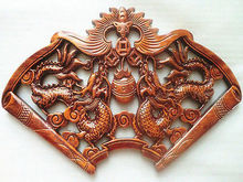 ART CHINESE HAND CARVED PAIR DRAGON STATUES CAMPHOR WOOD PLATE WALL SCULPTURE***