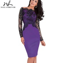 Nice-forever Off-Shoulder Gorgeous Vintage Dress Sexy Slash Neck Lace Top Long Sleeve Zipper Club wear Casual Pencil dress 803(China)