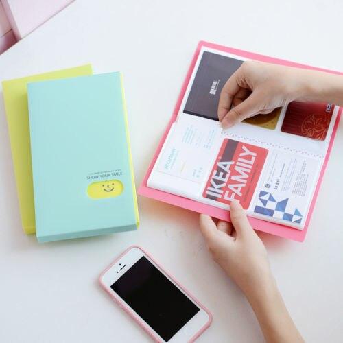Smile Business Card Holder Organizer ID Credit Card Case Bag Purse 120 Cards Holder