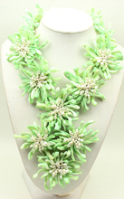N15012212 green MOP shell FW pearl flower statement necklace