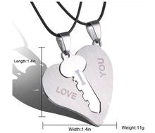 2017 Korean Couple Necklaces Set Pendant Necklace Engrave I Love You Matching Hearts Key 316L Stainless Steel Couple Puzzles