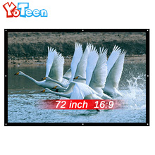 YOTEEN Projector Screen 72inch 16:9 Curtain Fabric High-definition Projection Screen Wall Mounted for UC46 YG300 LED Projector