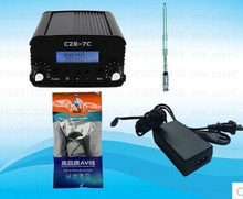 1W/7W stereo PLL FM transmitter broadcast radio station CZE-7C 76-108MHZ + TNC Antenna + Power supply+Audio cabel(China)