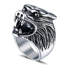 Punk Men Ring 316L Stainless Steel Cool Wolf Punk Biker Ring Antique Men Jewelry(China)