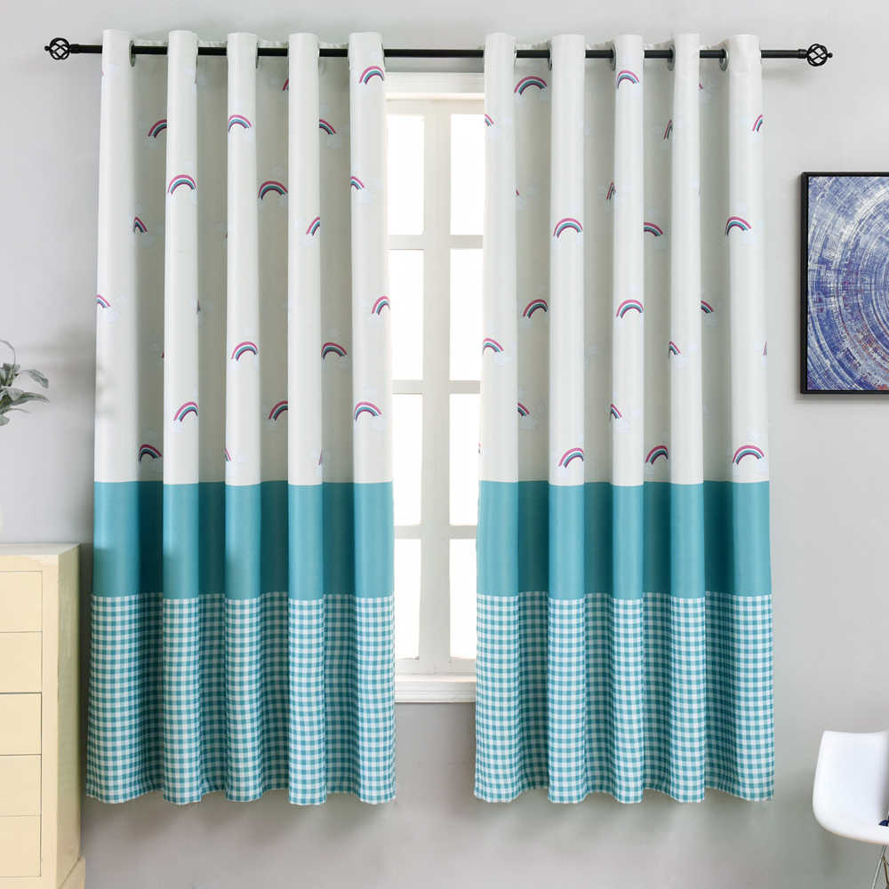Cartoon Rainbow Blue Plaid Blackout Curtain For Kid Girl Bedroom Short White Curtain For Kitchen Window Door Drapes Home PC016D3