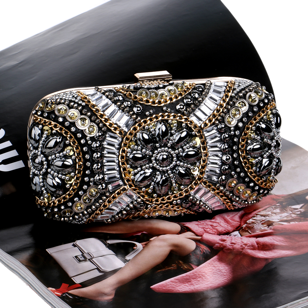 Free Shipping Womens Crystal Evening bag Retro Beaded Clutch Bags Wedding Diamond Beaded Bag Rhinestone Small Shoulder Bags<br><br>Aliexpress