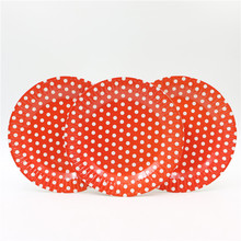 Happy Birthday Baby Shower Decoration Party Theme Paper Dishes Kids Favors Red Polka Dots Plates Supplies Tableware 10pcs\lot