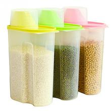 1.8/2.5L Plastic Dried food Cereal Flour Rice storage Box grain Container Kitchen Organizer Tools(China)