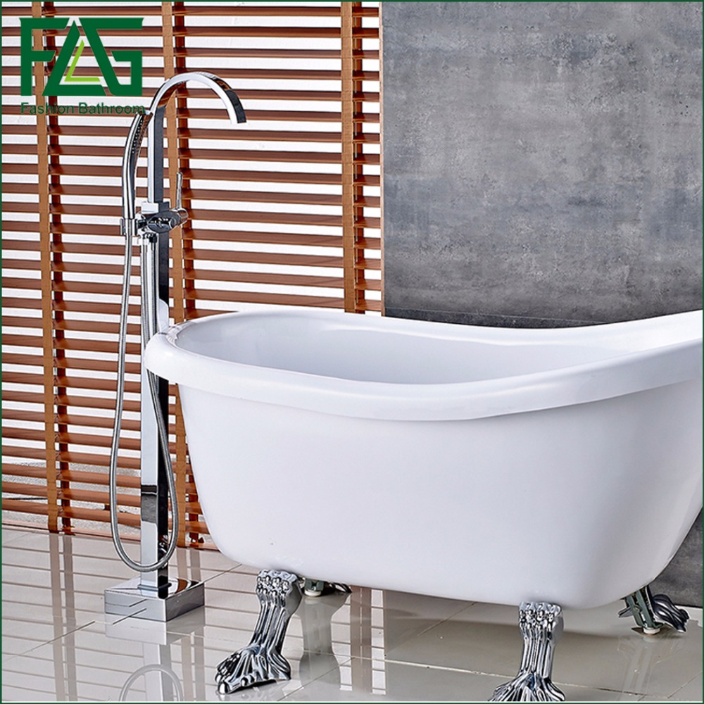 FLG Bathroom chrome finishing Floor Stand Faucet Round Type Bath Shower Mixer Brass Shower set Contemporary Bathtub Tap(China (Mainland))