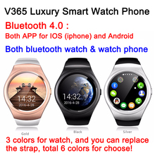 8pcs V365 Luxury Smart Watch phone Bluetooth 4.0 both app for IOS & android K8 GSM call partner for smartphone Pedometer GPS DHL(China)
