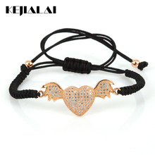 Women's Jewelry Heart Charm Bracelets Angle Wings & Hello Kitty & LOVE Lovely Jewelry for Girls Pulsera Masculina Christmas Gift(China)