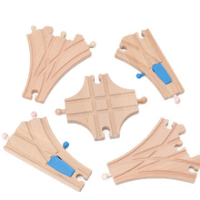 Thomas and Friends 5pcs Wooden Train Track Set Crossing Tracks Educational Wood Railway Accessories Toys bloques de construccion(China)