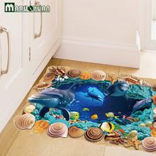 Dolphin Undersea Caves Floor 3D Sticker Wall Sticker 60*90CM For Kids Room Mural Removable Vinyl Wall Decals Adesivo De Parede