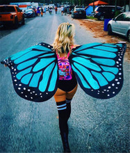 Butterfly Wings Ladies Seaside Cover Ups Nymph Pixie Costume Accessory Women Colorful Soft Fabric Beach Cover Up Fairy(China)