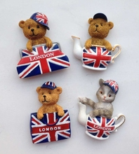 British Flag London Handbag Cute Teddy Bear 3D Fridge Magnets World Tourism Souvenirs Refrigerator Magnetic Stickers