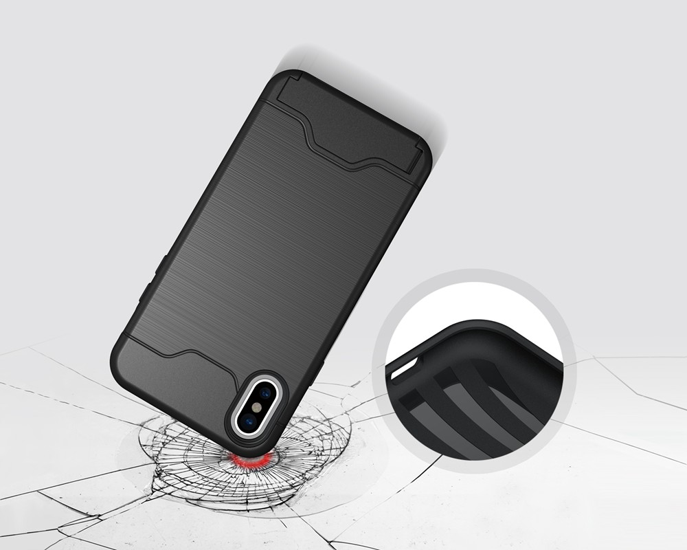 KEYSION Case For iphone X Shockproof cover for iPhone X Kickstand Armor Phone Bag Cases For iphone 10 Card Holder Coque 6