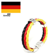 Soccer Fans Gift 10 Country 3 Strands Rope Braided Surfer Leather Bracelets Women Mens Bracelets World Cup National Flags Sports