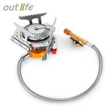 Outlife Outdoor Folding Gas Stove Camping Gas Burners Hiking Picnic Stainless Steel Stove Camping Stove Split Burners Equipment