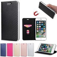 Fip Magnetic Luxury Carbon Fiber PU Leather Bag Wallet Case Kickstand Silicone Cover for iPhone 7 6s Plus Phone Case Bag Covers