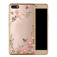 Buy Huawei Honor 7X Case Bling Flowers Crystal Rose Gold Plating Soft Back Cover Huawei Honor7X 5.93'' Silicone Phone Cases for $1.99 in AliExpress store