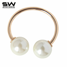 Vogue Female Jewelry Gold Silver Metal Designer Double Imitation Pearl Open Bracelet & Bangles for Women Ladies Bijoux