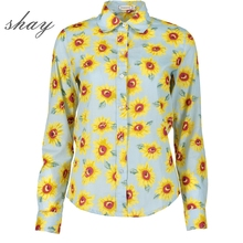 Women's Sunflower Shirt 2017 New Spring Women Sweet Cotton Floral Shirt Casual Plus Size Female Long Sleeve Blouses S-3XL