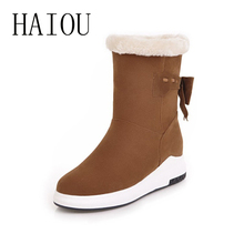HAIOU Brands Warm Snow Boots Women Flock Shoes Plus Velvet Ankle Winter Boots(China)
