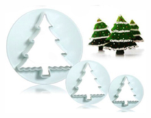 Christmas Tree Design Fondant Cake Molding Tools Set of 3 Shaped Sugarcraft Biscuit Plungers Cutters Molds in Different Sizes(China)