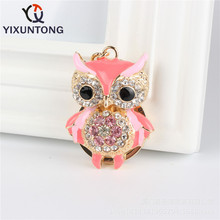 Fashion cute owl animal 2 colors spot Pendant keychain Fashion Rhinestone Crystal Creative ladies dress handbag wallet Jewelry