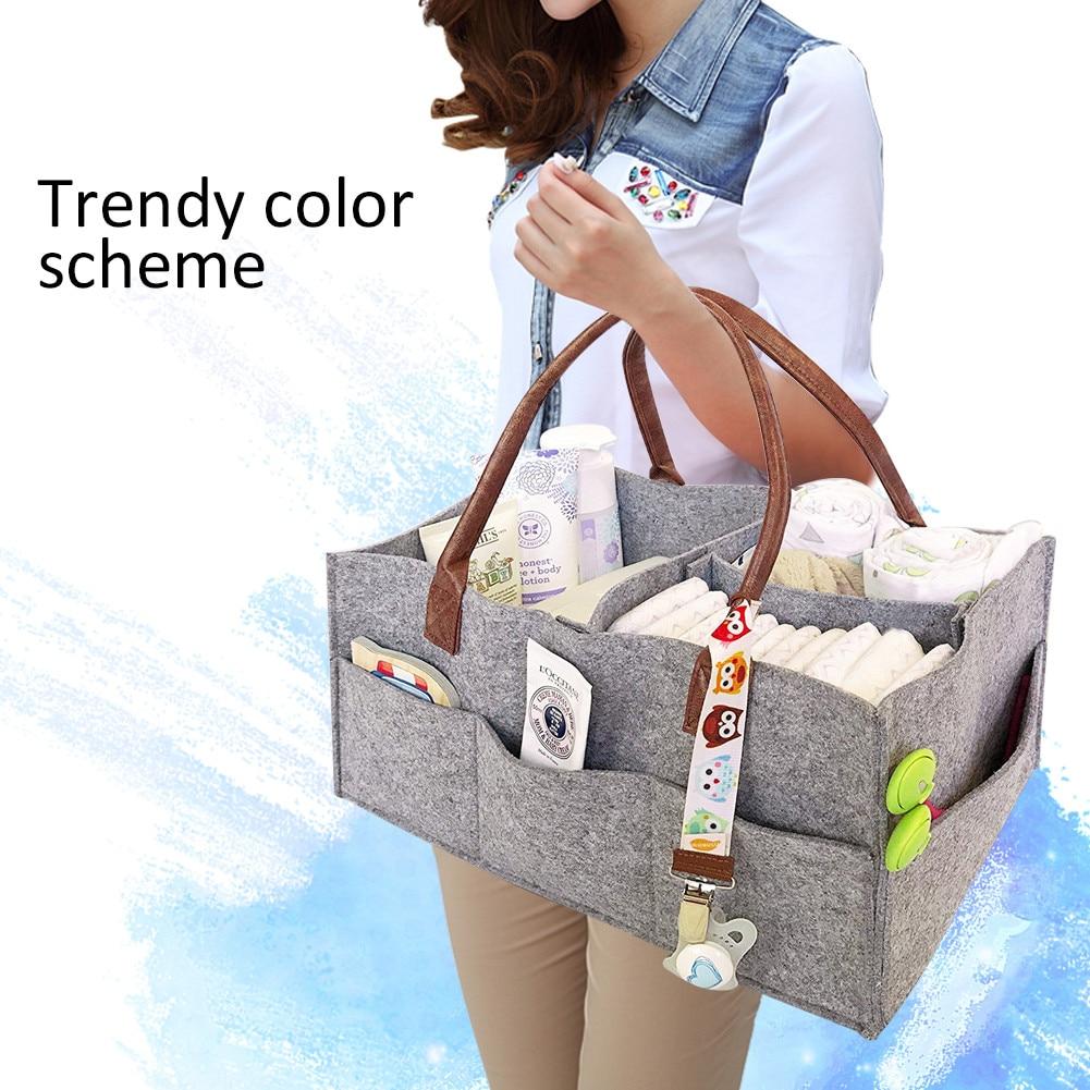 Large Capacity Foldable Felt Storage Bag Baby Diaper Folding Storage Basket Children's Toy Portable Handbag
