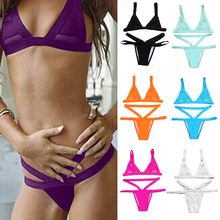 Daddy Chen Women Ladies Sexy Mesh Bikini Set Hollow Out Tops Bandage Swimsuit Strappy Swimwear Sexy Mini String Thong 7 Colors