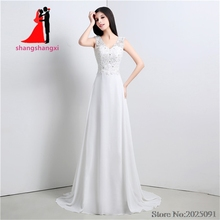Buy New Stock White Plus Size Chiffon Beach Lace Wedding Dresses 2017 Wedding Party Dress Vestido de noiva Long Prom Gown for $79.00 in AliExpress store