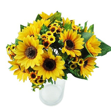 Home Decor 7 Heads Fake Sunflower Artificial Silk Flower Bouquet Wedding Floral Fashion Accessories Party Decoration