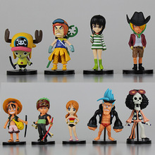 9pcs/set Japan Anime Action figure ONE PIECE POP luffy chopper law zoro nami robin brook Q version PVC figur model toy Xmas gift