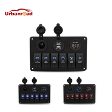 12V 24V 6 Gang LED Rocker Switch Panel Circuit Breaker Charger Dual USB Socket Cigaretter Plug Voltmeter Car Auto Switches(China)