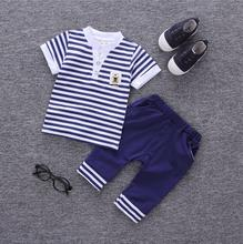 Baby Boy Clothes Summer 2017 Newborn Baby Boys Clothes Set Cotton Baby Clothing Suit (Shirt+Pants) Infant Clothes Set a12(China)