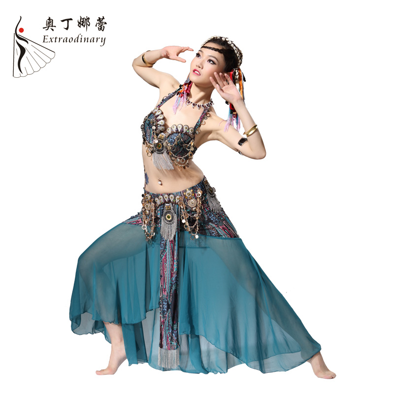 Tribe Shell Professional Beading Belly Dancing Costumes Bra+Belt+Pants S M L