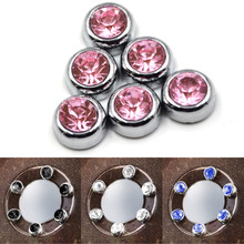 6 x Dia 12mm Crystal Rhinestones Cover Diamond Decoration Stickers for Auto Rearview Mirror Steering Wheel Car Styling Sticker(China)